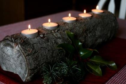 tronco de navidad lamparillas